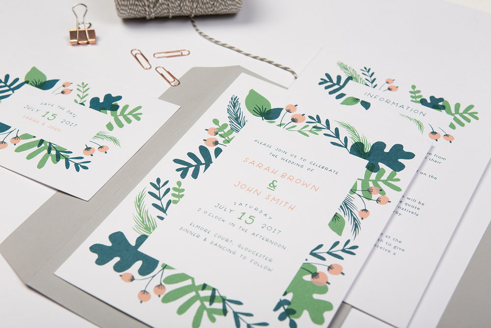 modern leafy foliage inspired screen-printed green wedding invites