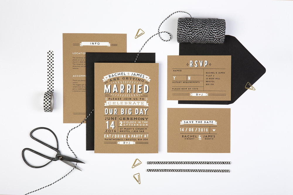 rustic typography inspired wedding invites screen-printed onto kraft card