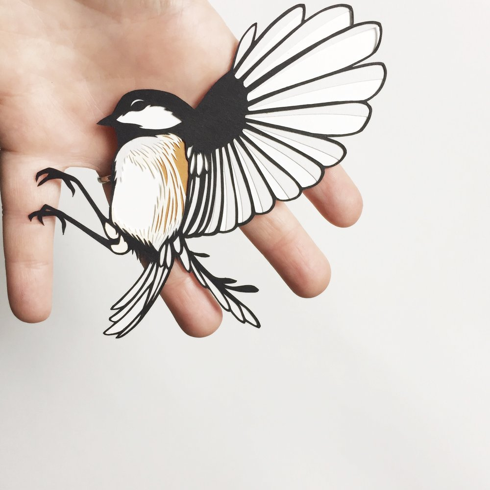 chickadee: original papercut art by bird mafia artist, emily brown