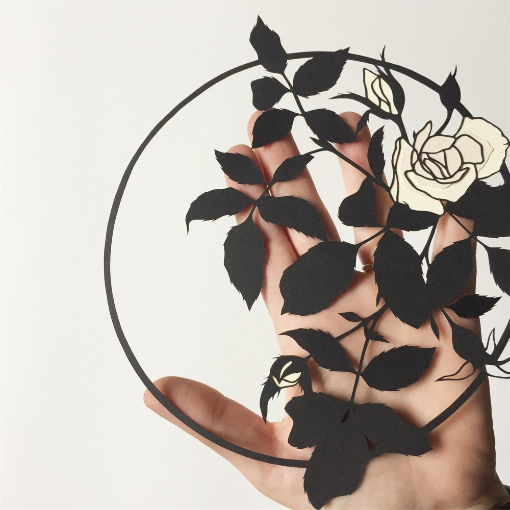 roses: original papercut art by bird mafia artist, emily brown