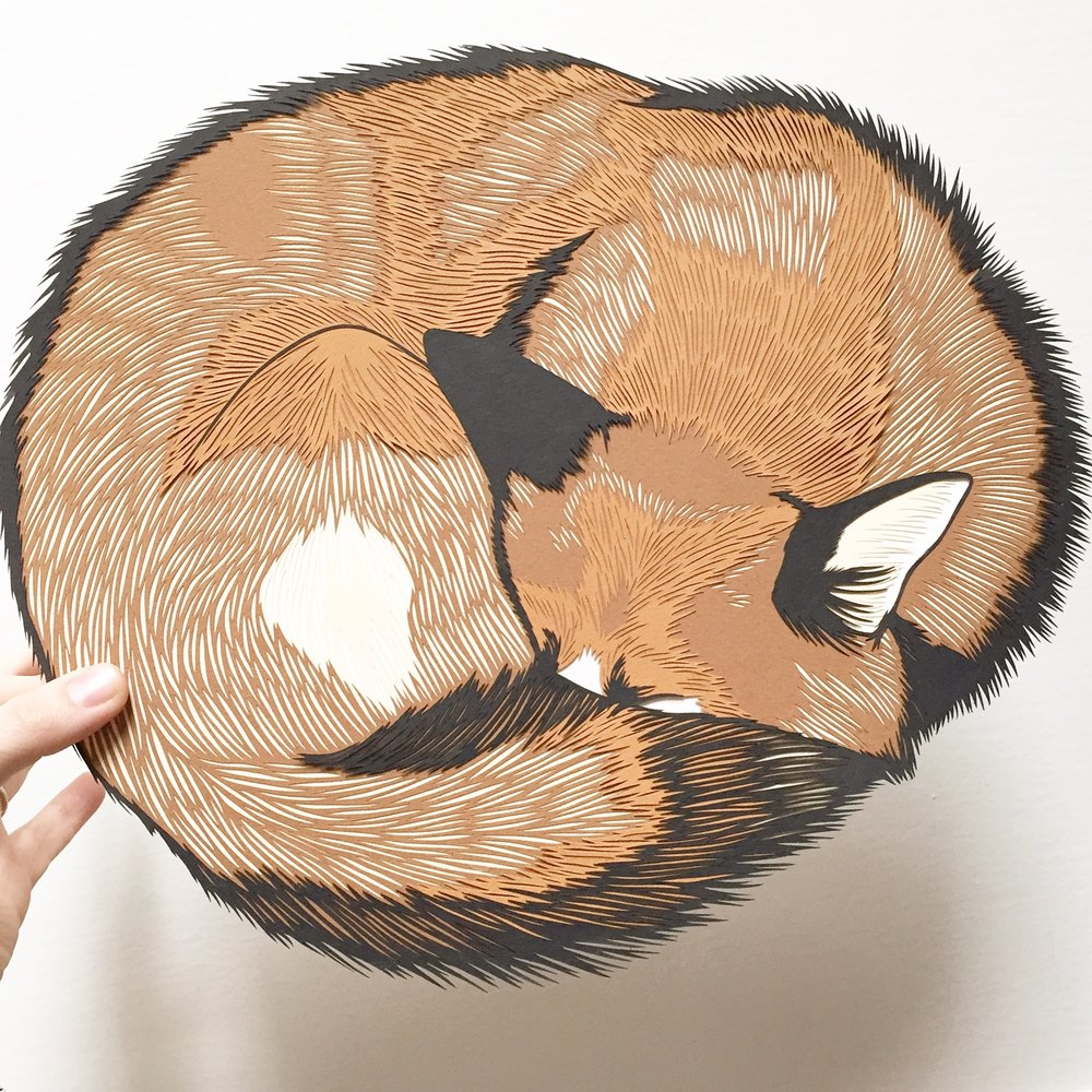 sleeping fox: original papercut art by bird mafia artist, emily brown