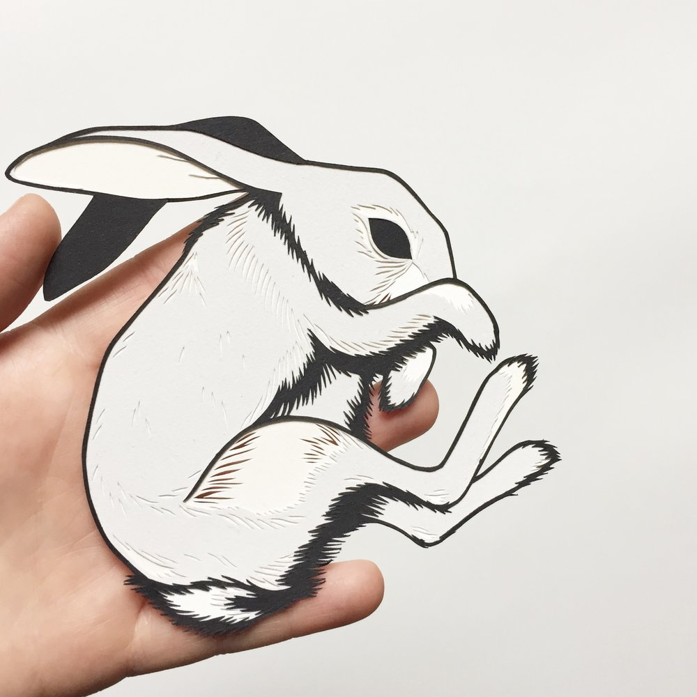 layered rabbit: original papercut art by bird mafia artist, emily brown
