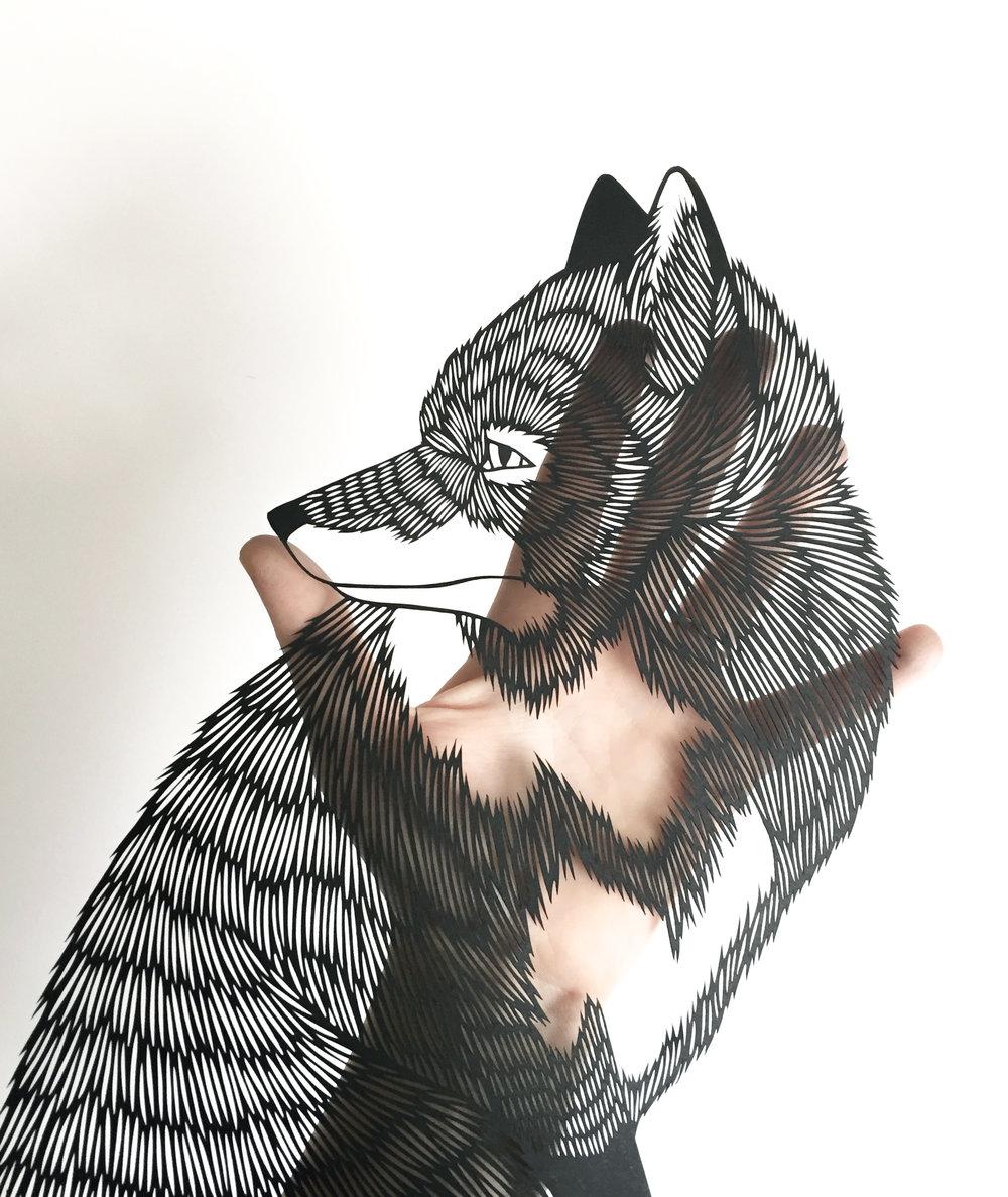 fox: original papercut art by bird mafia artist, emily brown