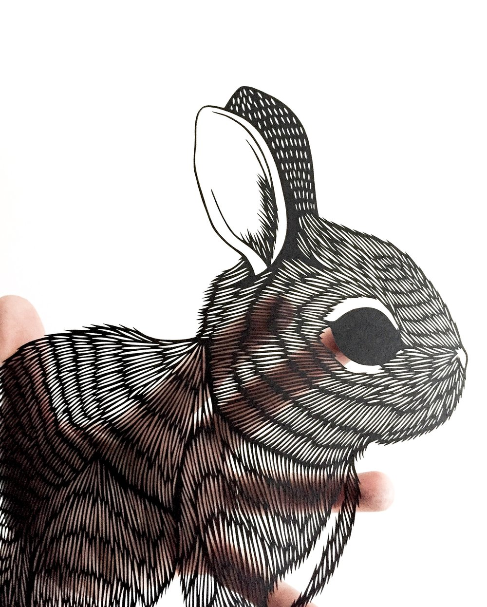 rabbit: original papercut art by bird mafia artist, emily brown