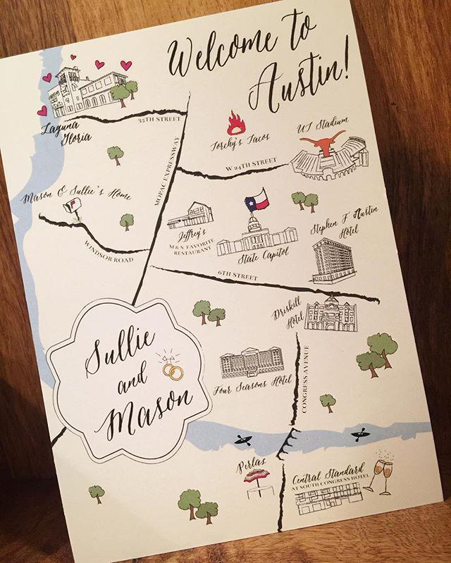 Love the details on this Austin wedding map! 😍 #illustrator #graphicdesign #austintx #texas #wedding #weddingmap #designsbysarahwest