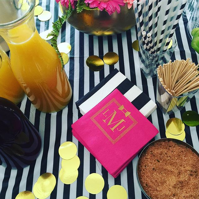 Custom monogram napkins to go with this shower cute #katespade baby shower theme! @katespadeny #allgoldeverything #stripes #monogram #brunchshower #mimosasandbloodymarys