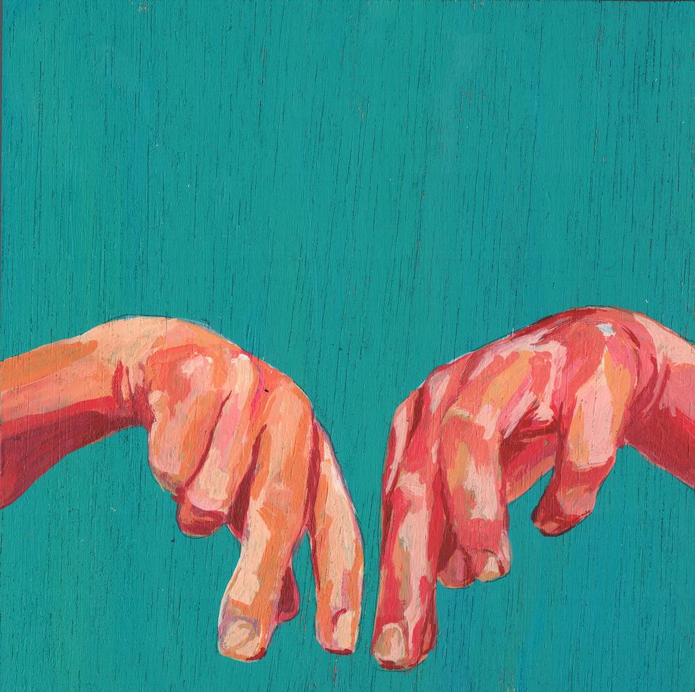 untitled, 15 x 15 cm, gouache on wood, 2013, private collection, Konden we maar zijn waar we zitten
