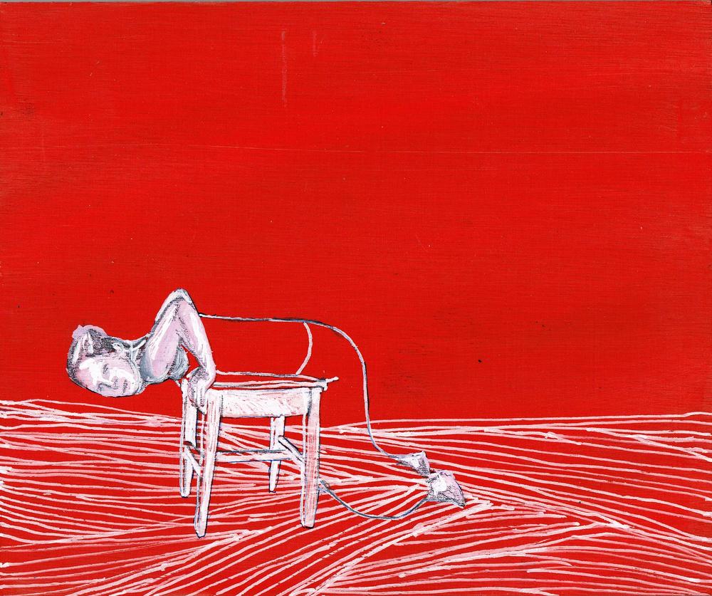 untitled, 18 x 15 cm, mixed media on wood, 2013, private collection, Konden we maar zijn waar we zitten