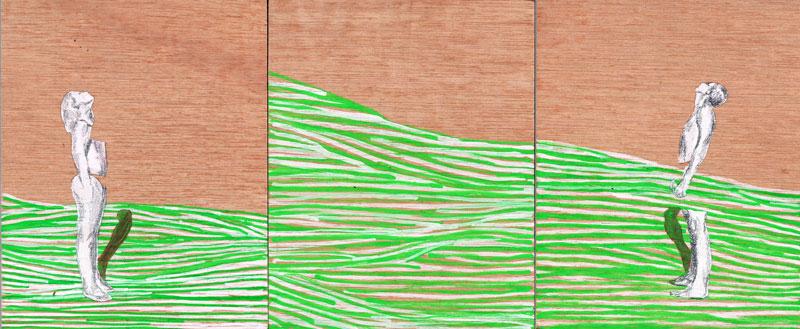 26 x 15 cm, mixed techniques on wood, 2013, Konden we maar zijn waar we zitten