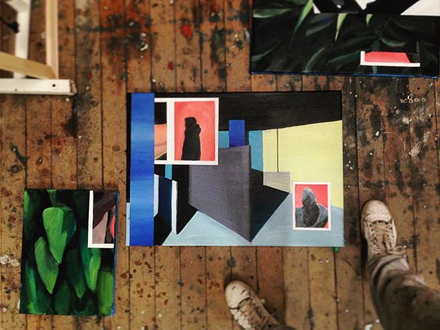 Collage playtime! #mixingitup #cutouts #studiofloor #art #buildingblocks