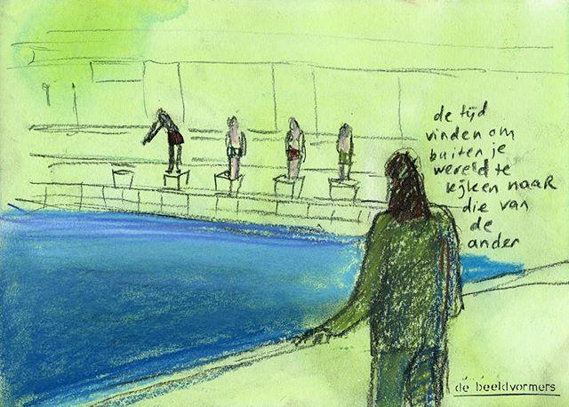 'Buiten de wereld kijken naar die van de ander' - tijdens de inspiratiedag van #horizoncollege gaven de tekeningen van #debeeldvorners de mogelijkheid direct Tr reflecteren en een goed gesprek te voeren #art-partner #tijdvinden #bloomingbergen #deander #nieuwsgierig #aandachtvoorelkaar #hoegaathetdaar #metliefdeenaandacht #duikinhetdiepe