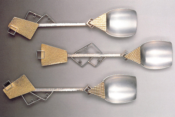Three Spoons  , 1989, sterling silver and 18k gold, 0.5x5.5x1.5 inches