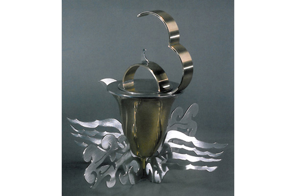Emperor's Tea Pot  , 1999, pewter and brass, 11x12x12 inches