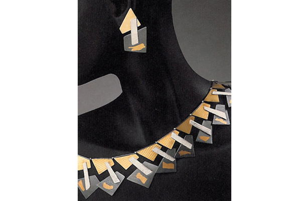 Choker and Earring , 1988, sterling silver, 18k gold and 24k gold overlay