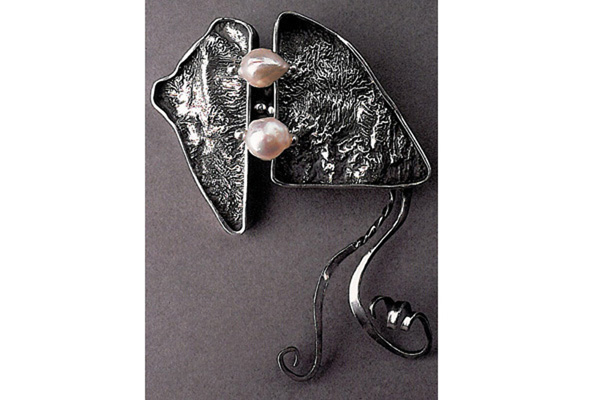 Pin  , 1982, sterling silver and pearls, 0.5x3x2.5 inches