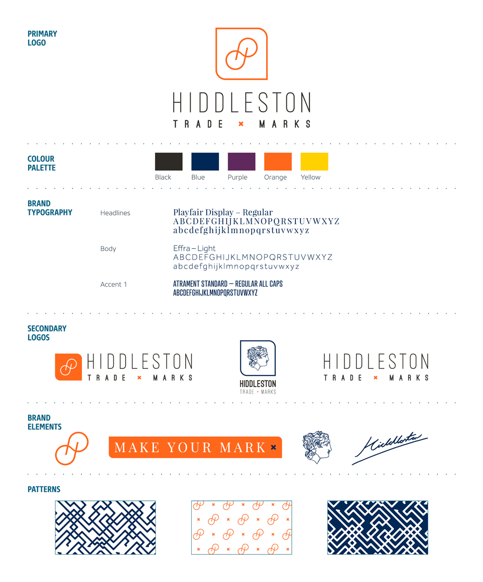 Hiddleston Trade Marks, logo design and branding by Ditto Creative, kent