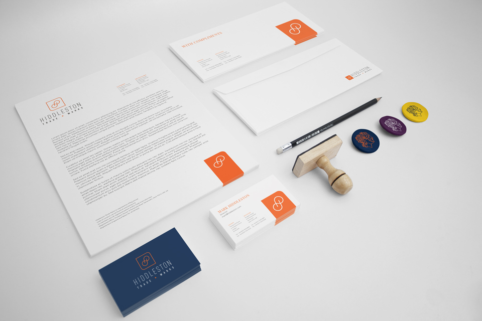 Hiddleston Trade Marks stationery design by Ditto Creative branding, kent
