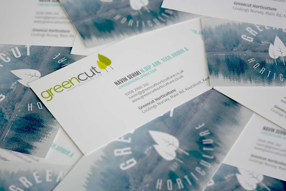 Greencut Horticulture branding and business cards by Ditto Creative, Kent