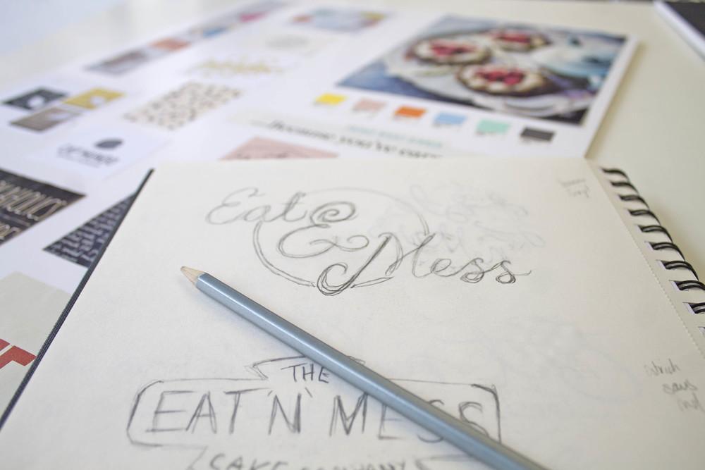 Eat N Mess gluten free cake shop logo design by Ditto Creative branding agency Kent