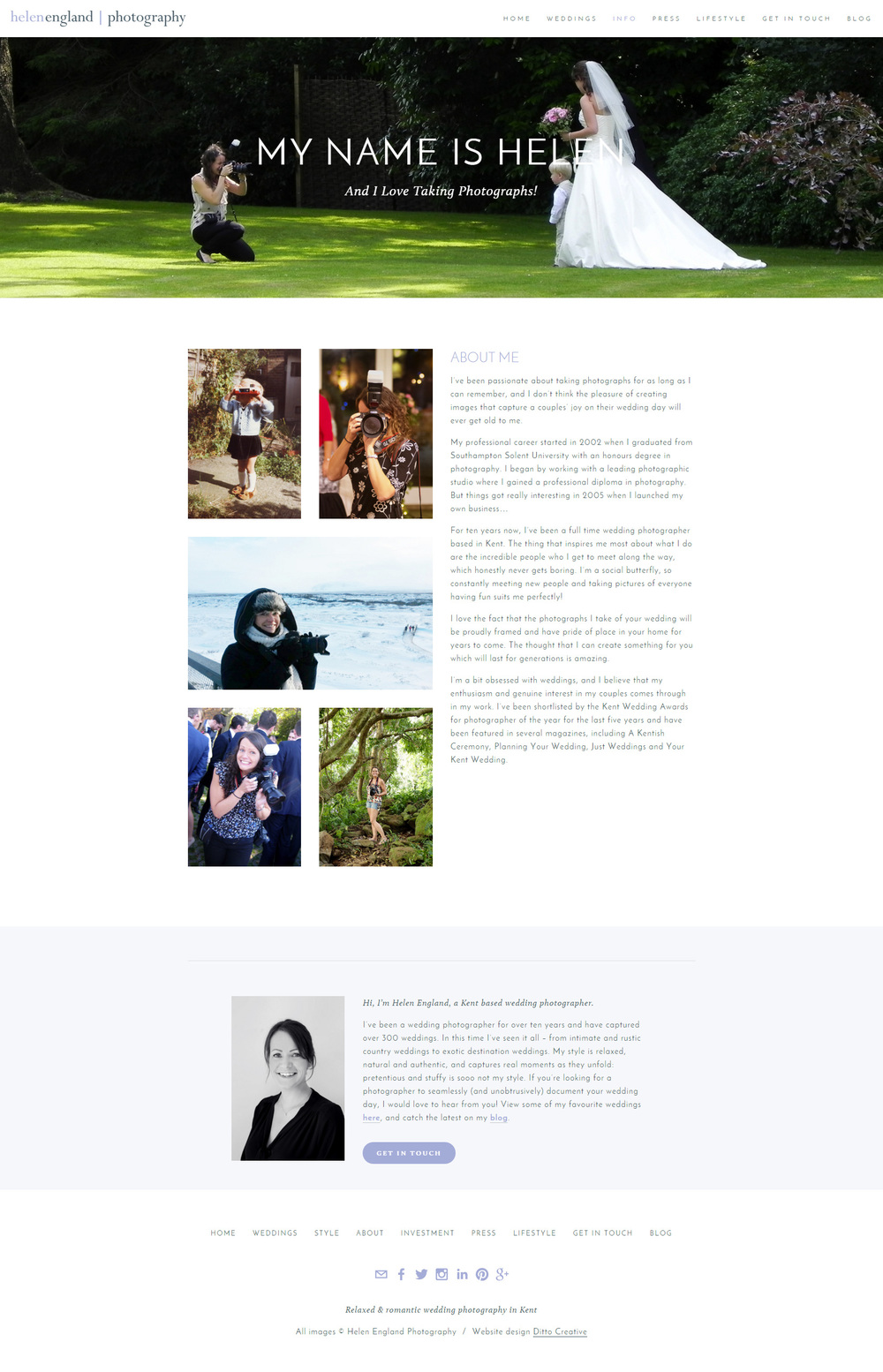 Helen England Photography, website design by Ditto Creative, Kent