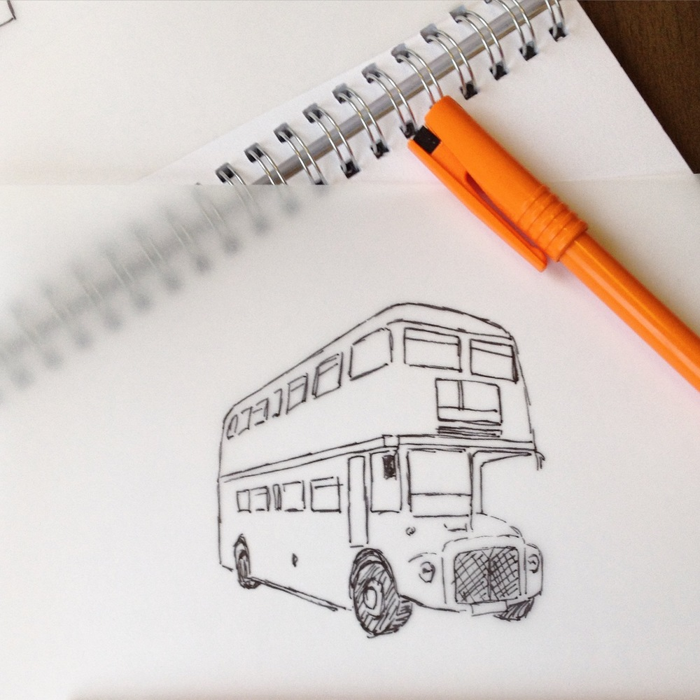 Route Master Red Vintage Bus hand illustration by Ditto Creative, branding Kent