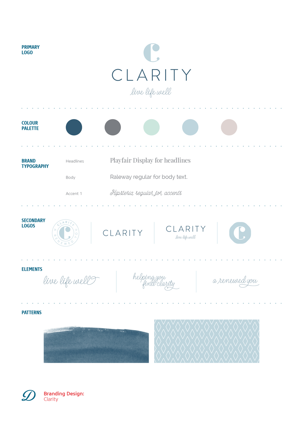 Clarity logo design, branding and brand board by Ditto Creative, branding agency Kent