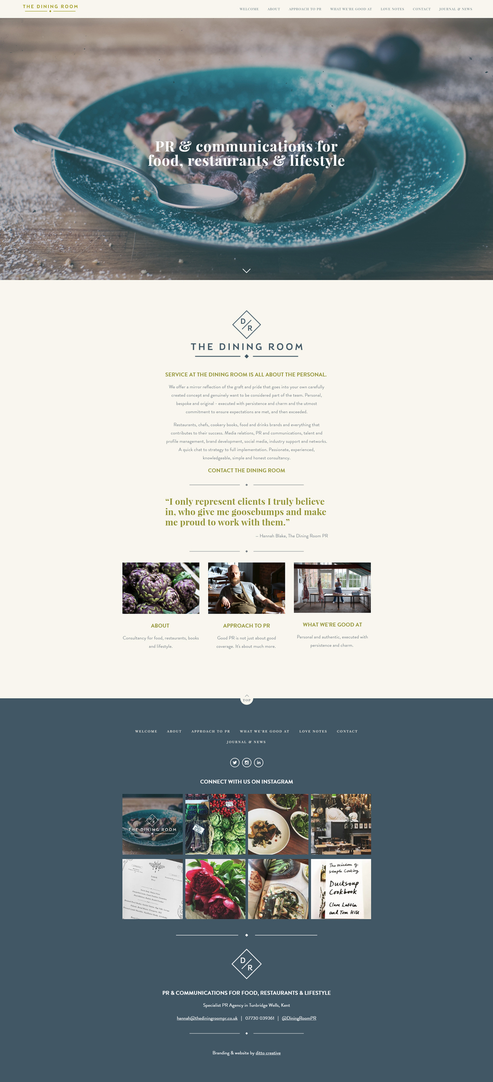 The Dining Room PR website design by Ditto creative, branding agency kent, squarespace website designer