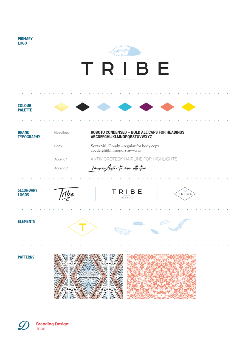 Logo design and branding for Tribe hairdressing, hair salon in Chislehurst by Ditto Creative, brand design in Kent, brand board for Tribe
