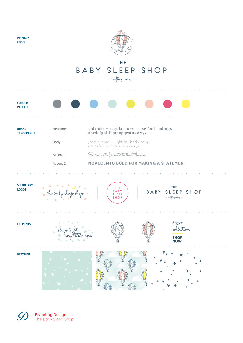 Logo design, branding and brand styling for The Baby Sleep Shop, online boutique for quality baby sleepwear. Brand by Ditto Creative Brand stylists, branding agency Kent