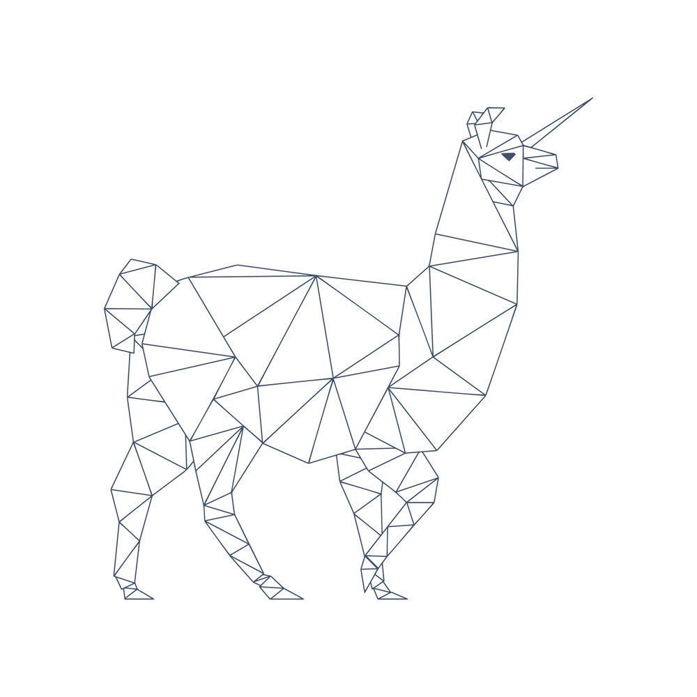 geometric Llamacorn illustration for Marianne Chua Photography by Ditto Creative branding agency