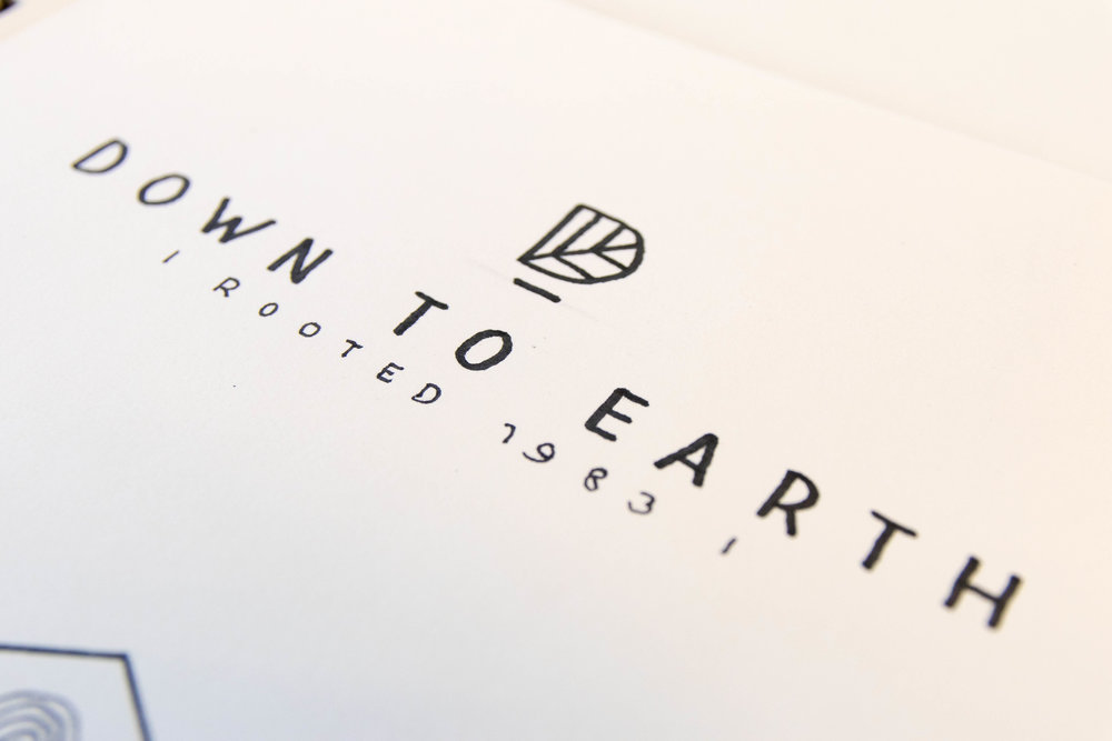Down to Earth logo concepts and brand identity by Ditto Creative, brand stylists branding agency Kent