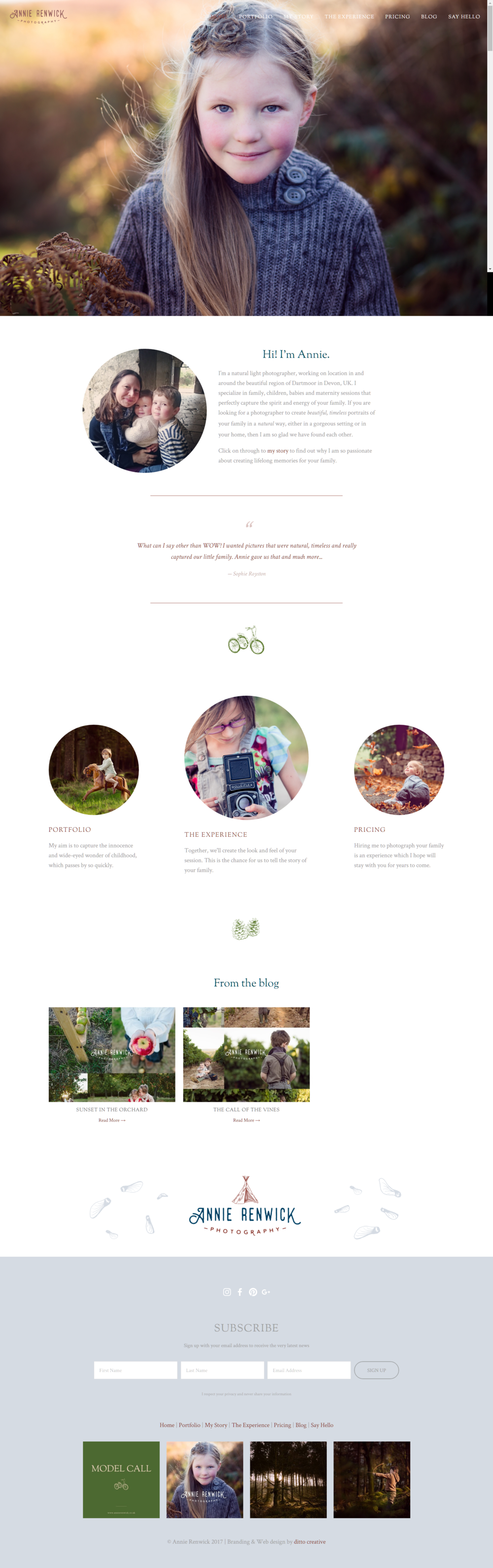 Annie Renwick fine art childrens photographer website design by Ditto Creative, branding agency in Kent, squarespace web design