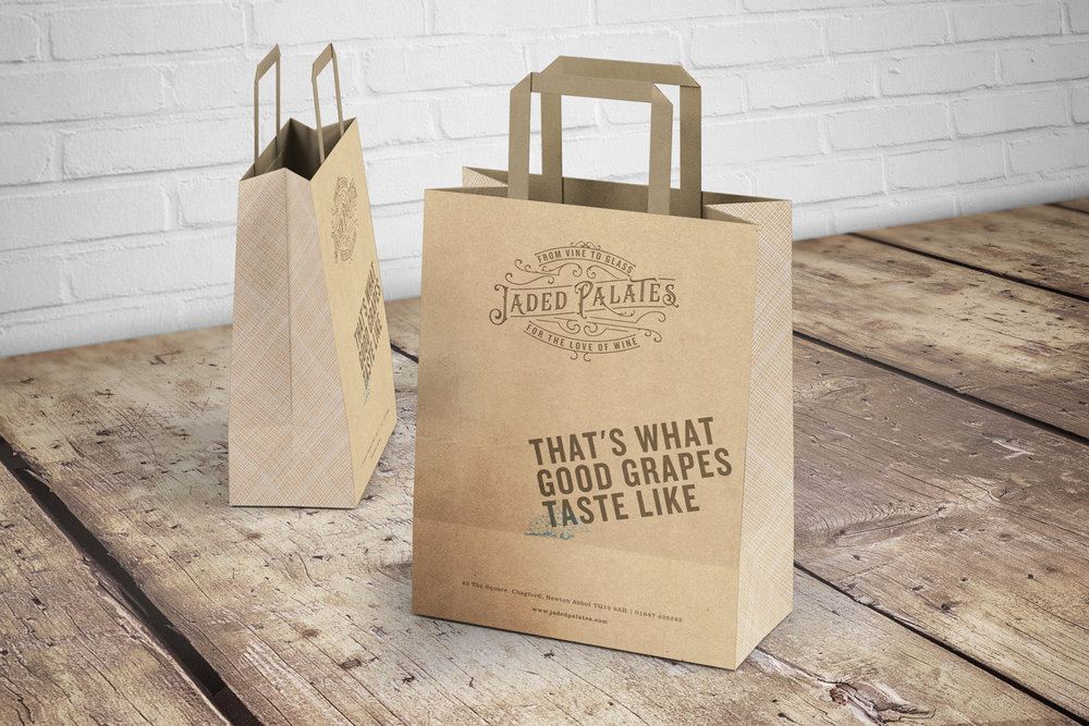 Jaded Palates wine merchant in Devon, logo design and brand identity by Ditto Creative, boutique branding agency Kent