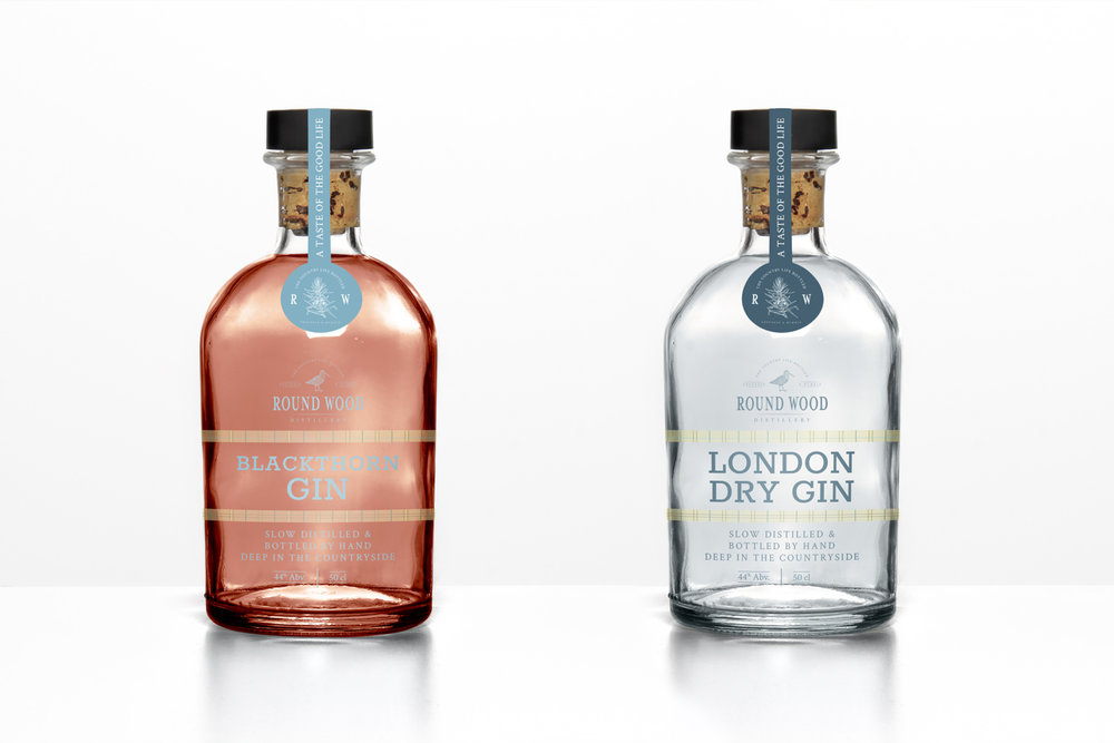 Round Wood Distillery, Cambridgeshire gin brand, logo design and brand identity by Ditto Creative, branding agency Kent