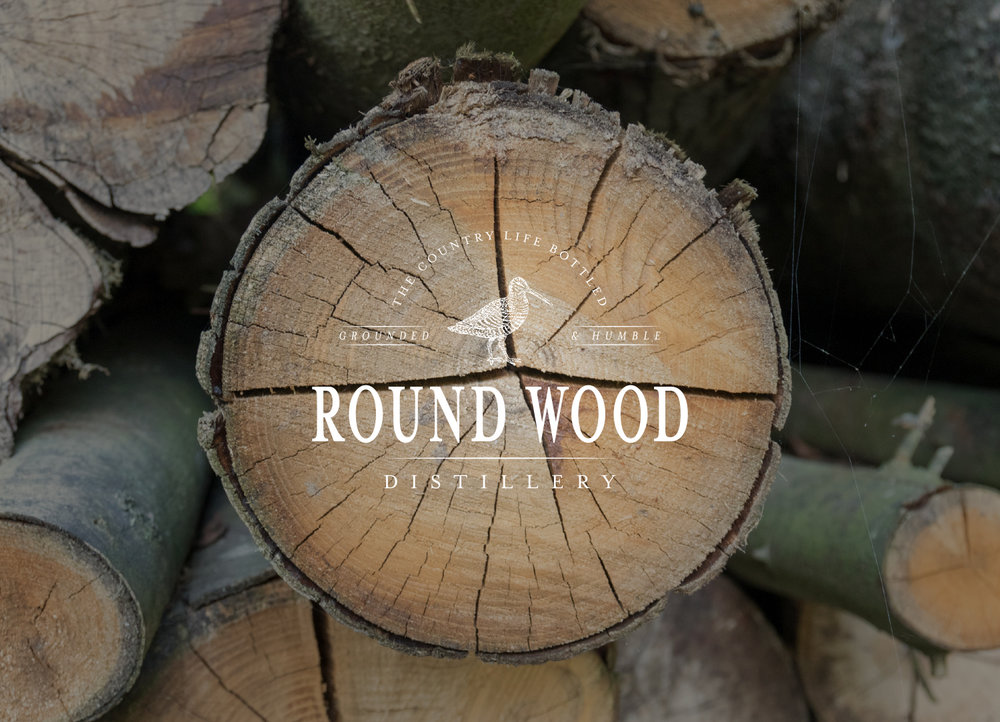 Round Wood Distillery, gin brand in Oxfordshire, logo design and brand identity by Ditto Creative, boutique branding agency Kent