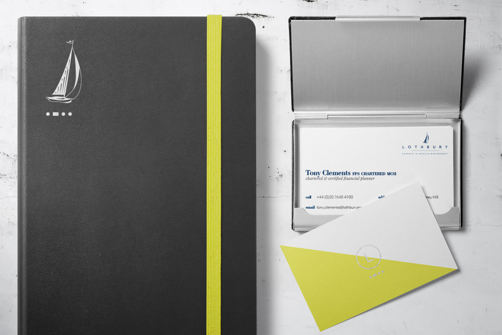 Lothbury wealth management, logo design and brand identity by Ditto Creative, boutique branding agency Kent