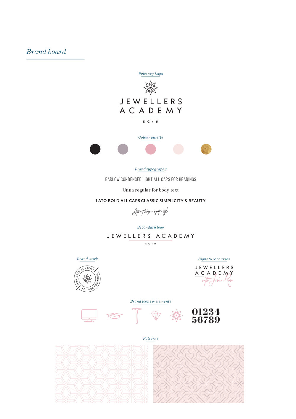 Jewellers Academy brand identity and logo design, brand design by Ditto Creative, boutique branding agency Kent