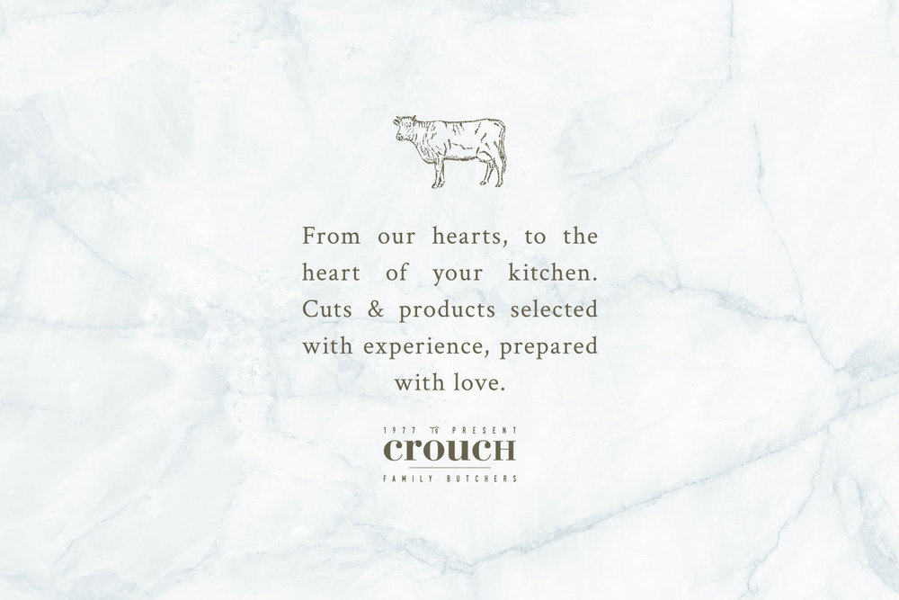 Brand consultancy, rebrand, logo design, squarespace web design for Crouch independent family butchers in Kent and East Sussex. Brand created by Ditto Creative, branding agency in Kent