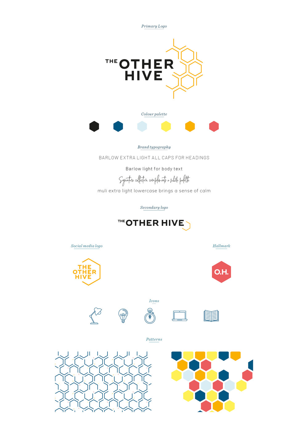 The Other Hive brand board, brand identity by Ditto Creative, branding agency Kent