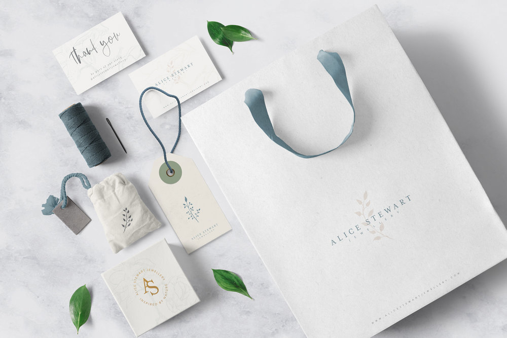 Alice Stewart Jewellery branding mockup using elements from branding identity suite