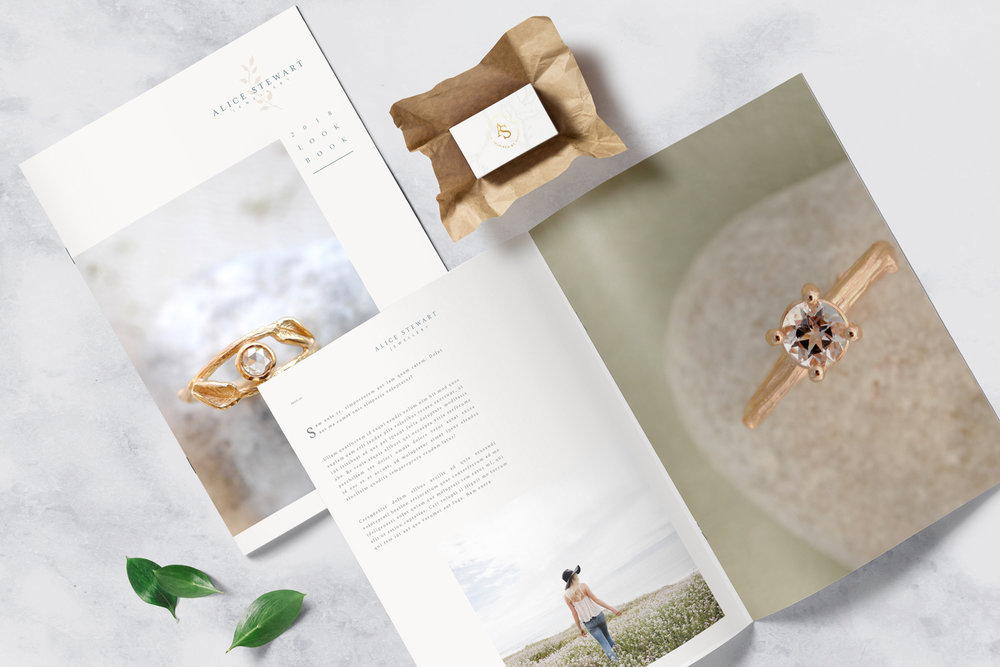Alice Stewart Jewellery lookbook mockup by boutique branding agency ditto creative