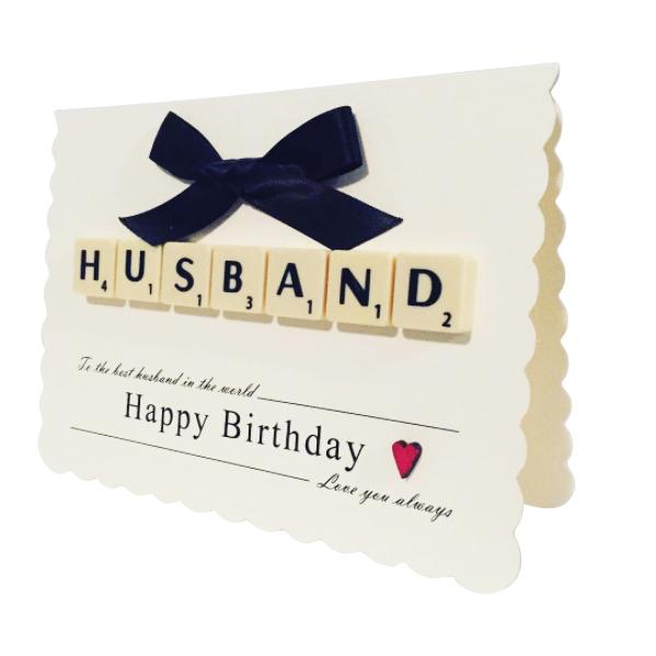 Handmade Scrabble Birthday Card For Husband
