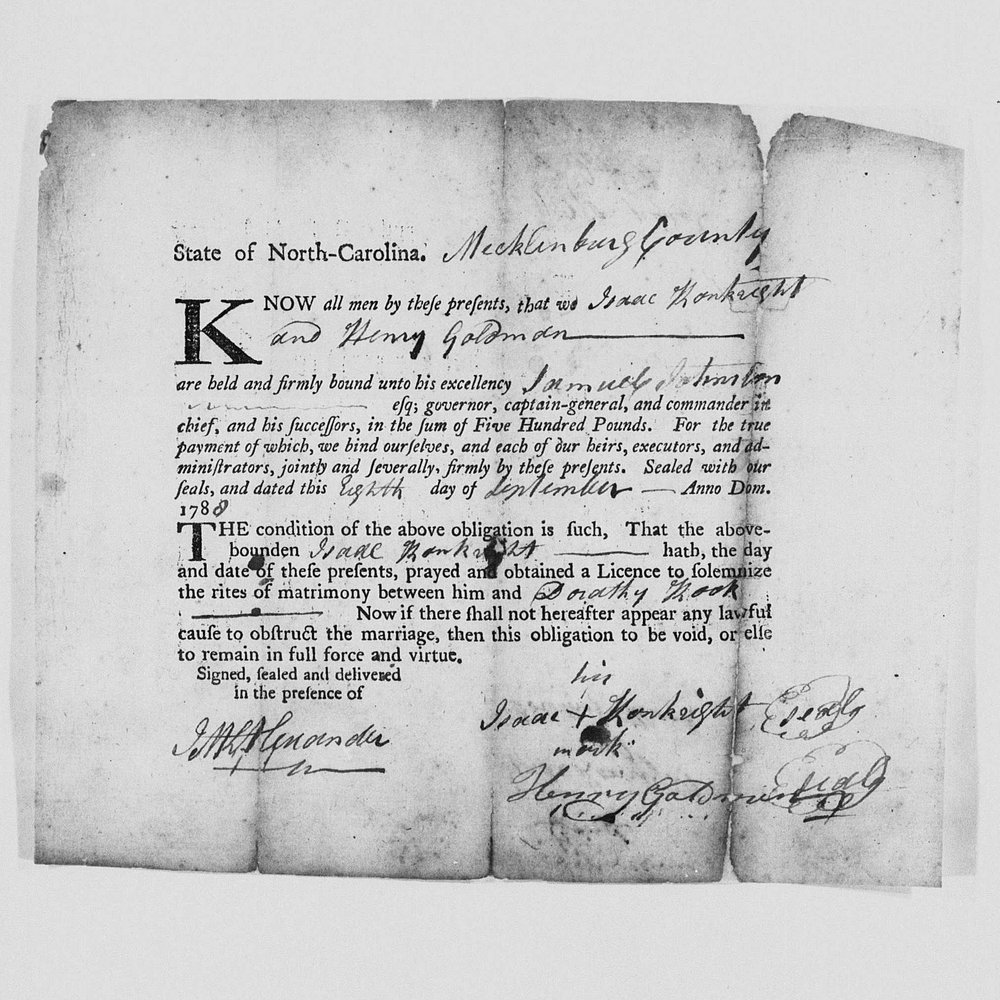 North Carolina Marriage Bond - Mecklenburg County - Isaac Conkwright & Dorothy Cook - September 8, 1788