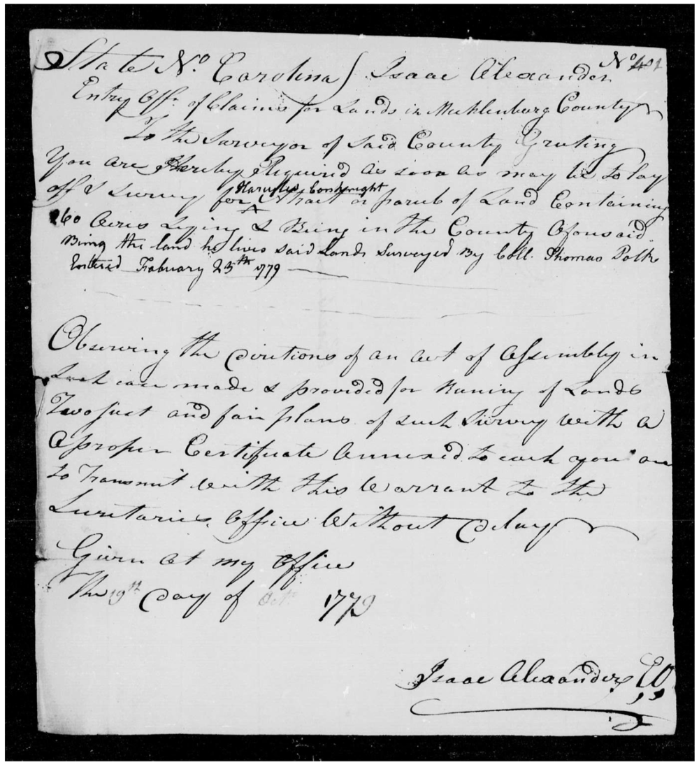 North Carolina Land Entries - Hercules Conkwright - Mecklenburg County - February 23, 1779