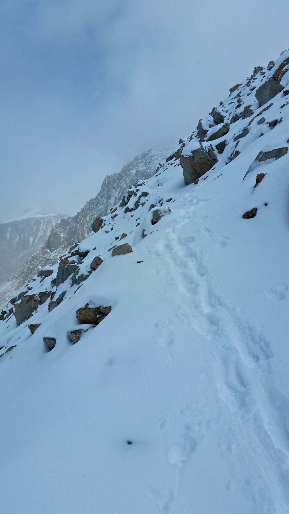 Making tracks on Mt. Whitney. Thank you Apple Pie and Lizard!