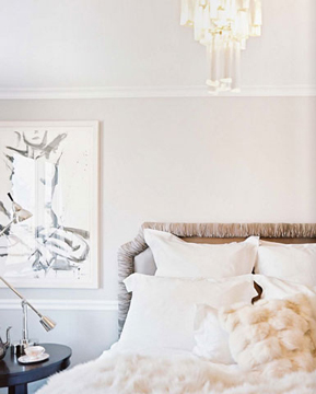 An art deco-inspired bedroom with faux fur accents. Source unknown.