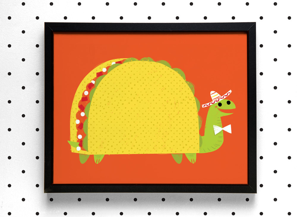Turtle Taco Art Print Framed.jpg