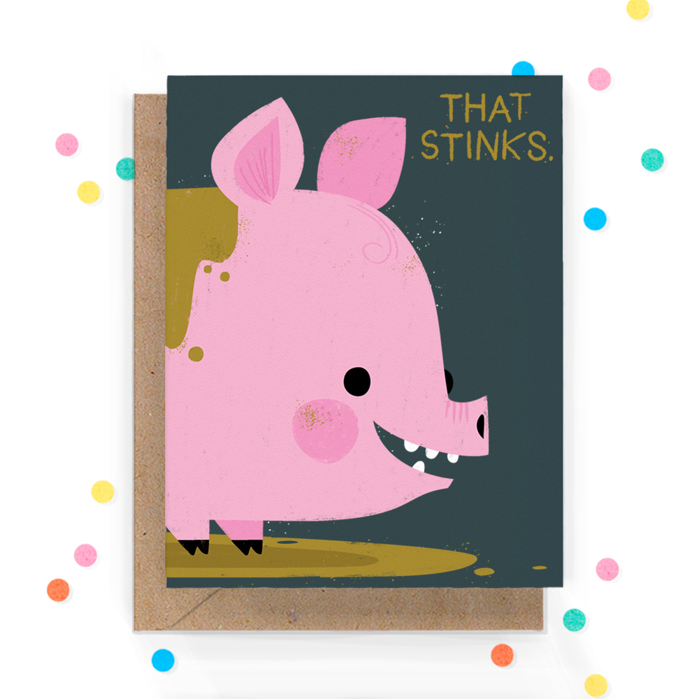 That Stinks Pig Greeting Card 1.jpg