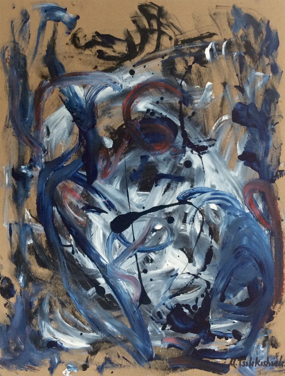 02.25.12. Acrylic,Send on Canvas. 16''x20''. Blue Flowers..JPG