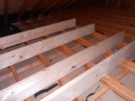 Cross framing for attic storage platform
